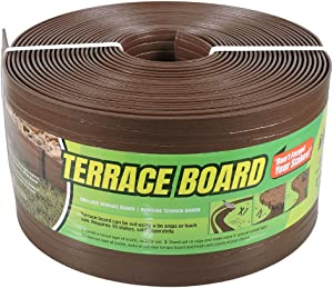 MASTER MARK Terrace Board, Landscape Coiled Edging, Grass Barrier, Bender Board, Garden Borders (Brown) 5 in. x 40 ft. with Stakes 95341