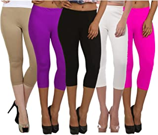 Fablab ¾ Capri Pants for Women_Girls_Ladies Cotton (Capri_CLS_190-5-3BePuBWP,Free Size,BeigePurpleBlackWhitePink)