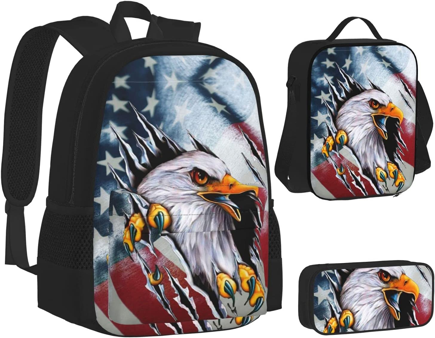 Backpack with Lunch Bag Pencil Case Outlet ☆ Free San Antonio Mall Shipping School USA Eagle Bags Flag