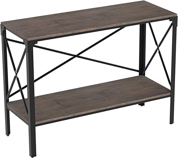 IRONCK Rustic Console Table 2 Tier Entryway Table With Storage Entry Table For Entryway Living Room Easy Assembly Industrial Style Dark Brown