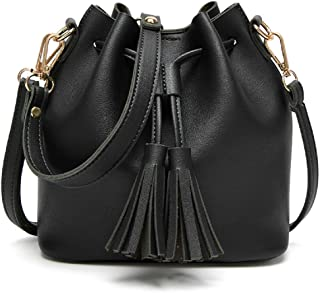 Orfila Mini Bucket Bag Leather Shoulder Crossbody Bag Tassel Drawstring Purse for Women