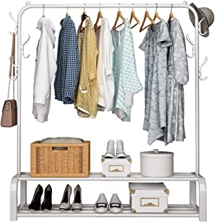 U-HOOME Clothes Rack Metal Garment Racks Heavy Duty Indoor Bedroom Cool Clothing Hanger with Top Rod and Lower Storage She...