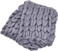 ColeyBear Dark Grey Boho Home Decor Blanket (40in x 60in) - Big Chunky Yarn Knit Blankets - Handmade Oversized Throw Comforter - Massive Hand Knitted Throw Blanket (Dark Grey)