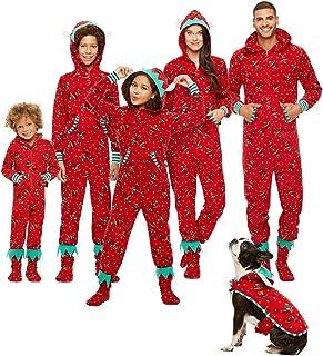 oneforus Famiglia Matching Pigiama Natale Festival Onesie Un Pezzo Xmas Cervo Overalls con Cappuccio Sleepwear Loungewear per Membro della Famiglia