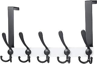 Dseap Over The Door Hook Hanger - 5 Tri Hooks, Heavy Duty Over The Door Towel Rack Coat Rack for Clothes Hat Towel, White & Black