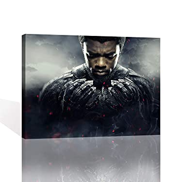 Superhero King Wakanda Chadwick Boseman Black Panther Wall Art T'Challa American Marvel Canvas Paints Oil Paintings Decor Artwork Painting Canvases Living Room Bedroom Forframed Easy to Hang 16x12in