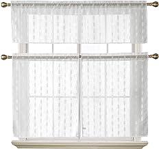 3 قطع ستائر وستائر مطبخ شفافة من قماش الجاكار بنمط ستائر للنافذة من ديكونوفو، مقاس 140.76 سم × 45.72 سم + 69.04 سم × 91.44...