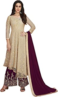 HEAVY NET FABRIC CHAINSTITCH EMBROIDERED PLAZZO SUIT