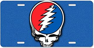 Grateful Dead Steal Your Face License Plate Frame Tag Holder with Screw Cap Covers