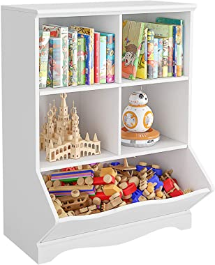 HOMECHO Kid's Bookcase, 5 Bins Toy Storage Cubby, Children's Storage Cabinet, Book Storage Shelves for Playroom, Bedroom, Rea