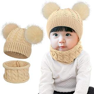 Luoistu Cappellino Lavorato a Maglia con Pompon Beanie Bambino Cappello Inverno Sciarpa Bambini Invernale Beanie Bambino Cappello Adatto per Bambini di 3-48 Mesi
