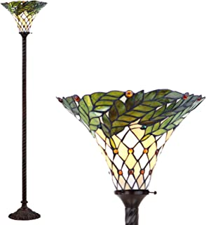 JONATHAN Y JYL8004A Botanical Tiffany-Style Torchiere Floor Lamp, Bulb Included, Bronze