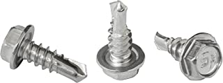 """#8 x 1/2"""" Hex Washer Head Self-Drilling Tek Screw Zinc Plated Steel for Attaches Sheet Metal Steel or Steel to Metal - Box..."""