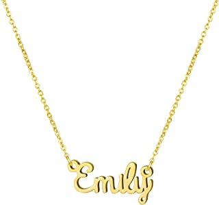 Awegift Personalized Name Necklace 18K Gold Plated New Mom Bridesmaid Gift Jewelry for Women