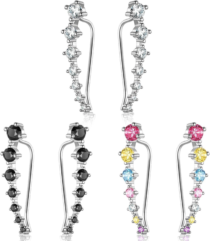 Yaomiao 3 Pairs Crystal Ear Cuffs Hoop Climber Earring Shiny Cubic Zircon Crawler Stud Earring Jacket for Women Girls