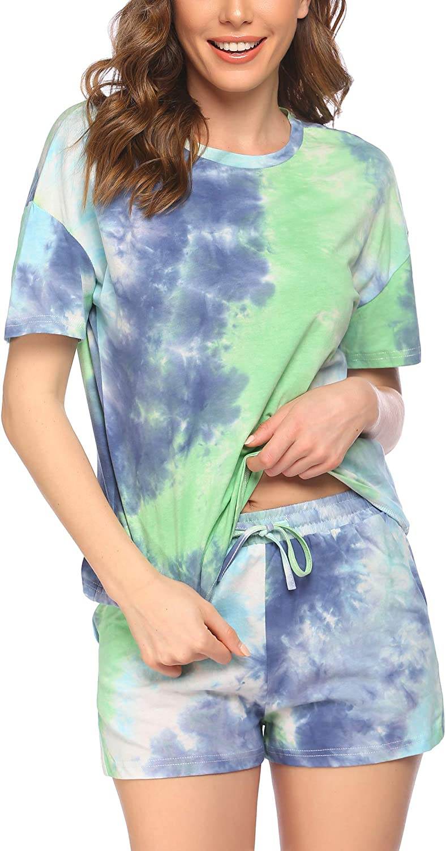 luxilooks Pajamas for Women Short Sleeves Tie Dye Pajamas Set Lounge Set Pj Set Top and Shorts Cotton Sleepwear XS-XXL