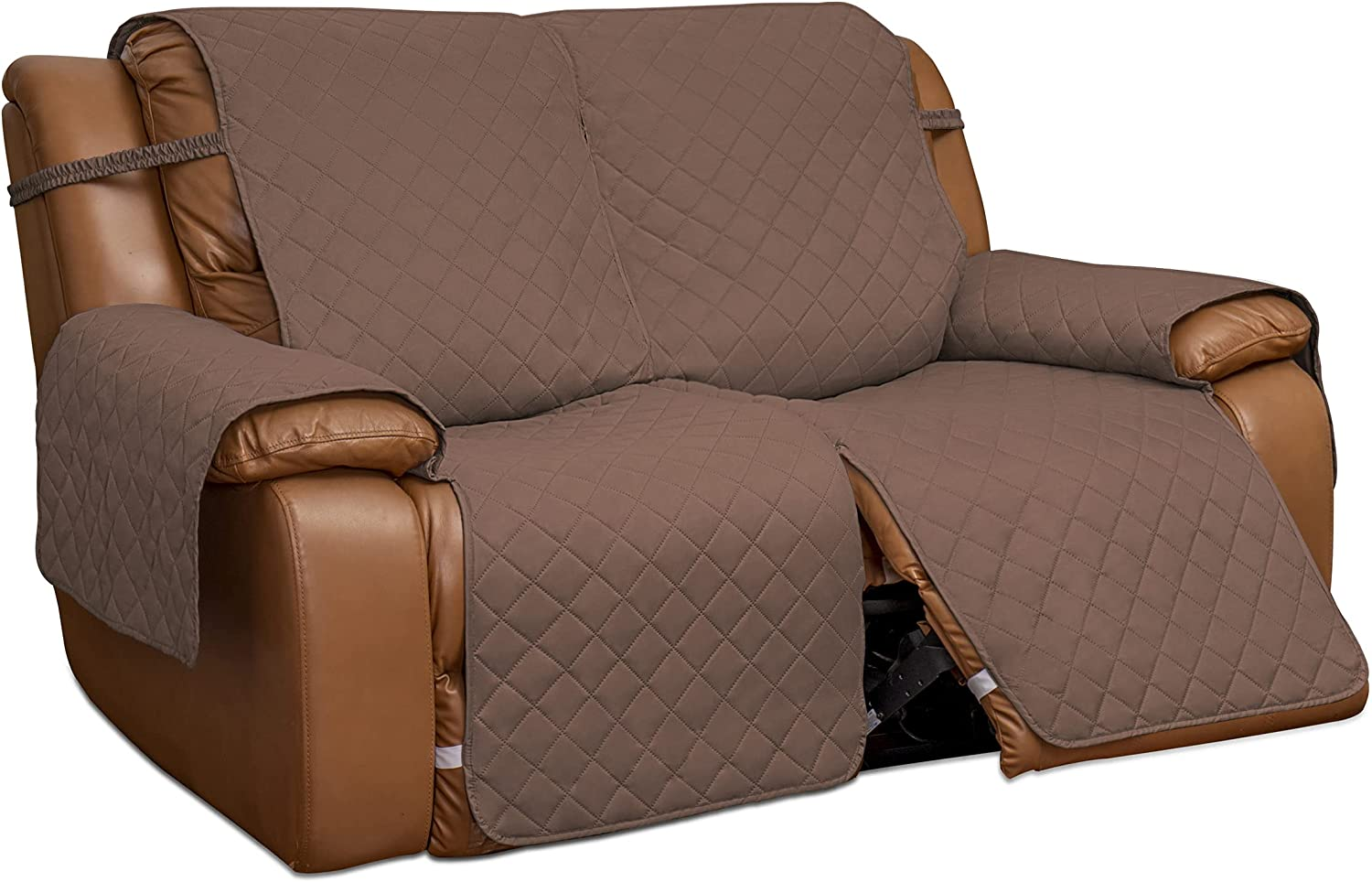 Easy-Going Loveseat Recliner Cover, Reversible Couch Cover for Double Recliner, Split Sofa Cover for Each Seat, Furniture Protector with Elastic Straps for Kids, Dogs, Pets(2 Seater ,Brown/Beige)