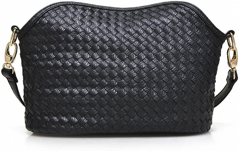 Weibliche Reine Farbe Reiverschluss Schnalle Handgewebte Schulter Messenger Bag , schwarz