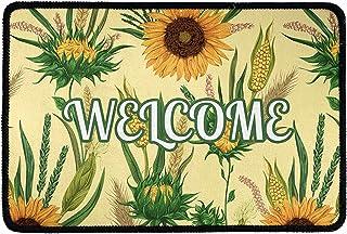 Pensura Welcome Entry Way Doormat Front Door Rug Sunflower Corn Pattern with Outdoor Mat for Front Door Farmhouse Welcome Mat