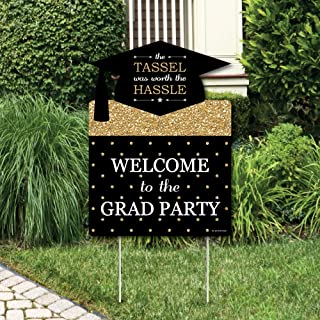Big Dot of Happiness Gold Tassel Worth The Hassle - Graduation Decorations - Graduation Party Welcome Yard Sign
