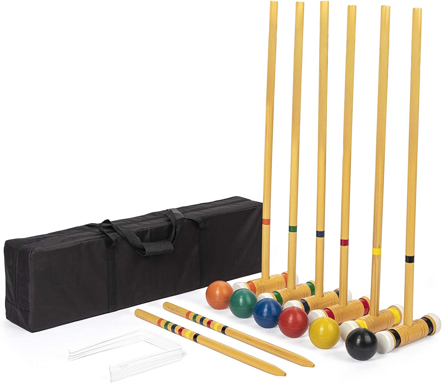 Six-Player Deluxe Croquet Set with Rapid rise Colored Wooden Balls Mallets Award