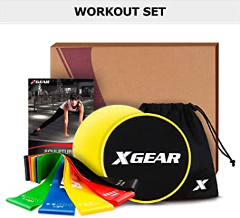 XGEAR Core Sliders and 4 Resistance Bands for Fitness Equipment for Home for Intense, Low-Impact Exercises to Strengt...