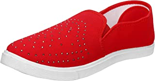 2ROW Women's Stone Studded Red Loafers