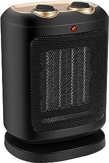 Calentador de espacio de cerámica PTC 1800W, Mini ventilador calefactor personal eléctrico con función de rotación, Protección contra sobrecalentamiento y volcado, Viento natural / Bajo calor / Alto c