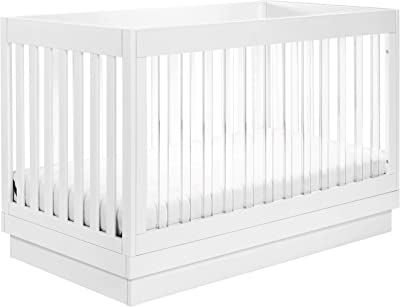 Babyletto Harlow Acrylic 3-in-1 Convertible Crib with Toddler Bed Conversion Kit in White with White Base and Acrylic Slats, Greenguard Gold Certified