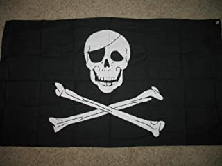 3x5 Embroidered Blackbeard Edward Pirate Synthetic Cotton 3/'x5/' Flag 3 Clips