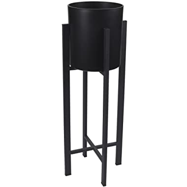 Plant Stand Set - Modern Plastic Planter with Tall Metal Stand - Decorative Tall Standing Flower Succulent Pot Holder, Indoor Outdoor Home Decorfor Terrace, Patio - Black, 21.85 x 8 x 8 inches