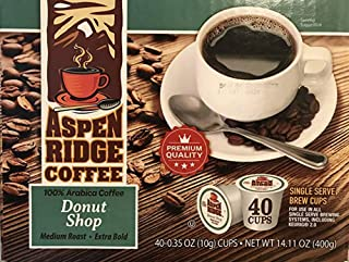 Aspen Ridge Coffee K Cups - Donut Shop Single Serve Coffee Medium Roast, Extra Bold - 40 Count