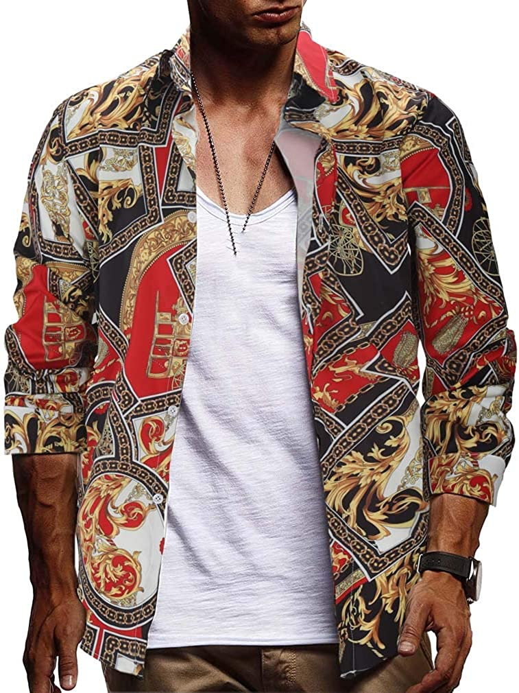 Men's Spring Vintage 3D Digital Printing Lapel Dress Shirt Slim Fit Casual Shirt Long Sleeve Button Down Shirts