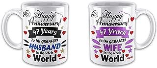Happy Anniversary 47 Years to The Greatest Husband & Wife in The World Tea Cup Funny Novelty Mug Ceramic Mug Coffee Mug 11 ozs