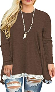 USUASID Womens Plus Size XL-4XL Lace Long Sleeve A-Line Flowy Tunics Top Blouse Shirt