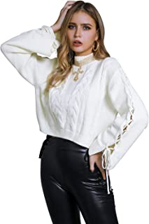 Glamaker Women's Casual Mock Neck Cable Knit Sweater Lace Up Long Flare Sleeve Pullover Crooped Tops