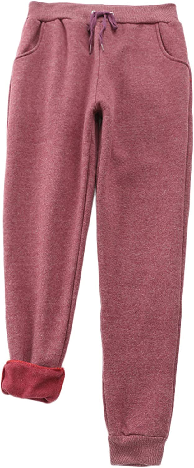 Andongnywell Women's Casual Warm Winter Fleece Sweatpants Running Active Thermal Sherpa Lined Jogger Pants