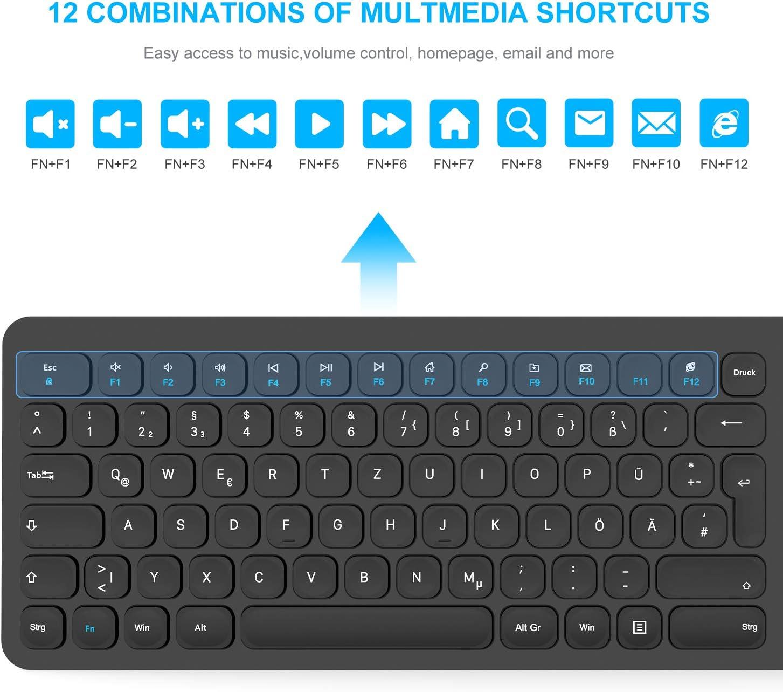 2.4G Leise Funkmaus und SlimTastatur Combo Mac QWERTZ, Deutsches Layout, Full Size mit 2 in 1 USB Nano Empf/änger f/ür PC Laptop Desktop Notebook Windows LeadsaiL Tastatur Maus Set Kabellos