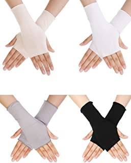 Bememo UV Protection Gloves Wrist Length Sun Block Driving Gloves Unisex Fingerless Glove