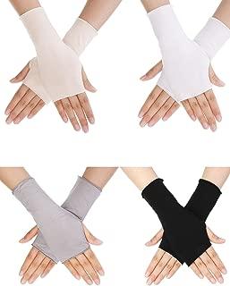 UV Protection Gloves Wrist Length Sun Block Driving Gloves Unisex Fingerless Glove