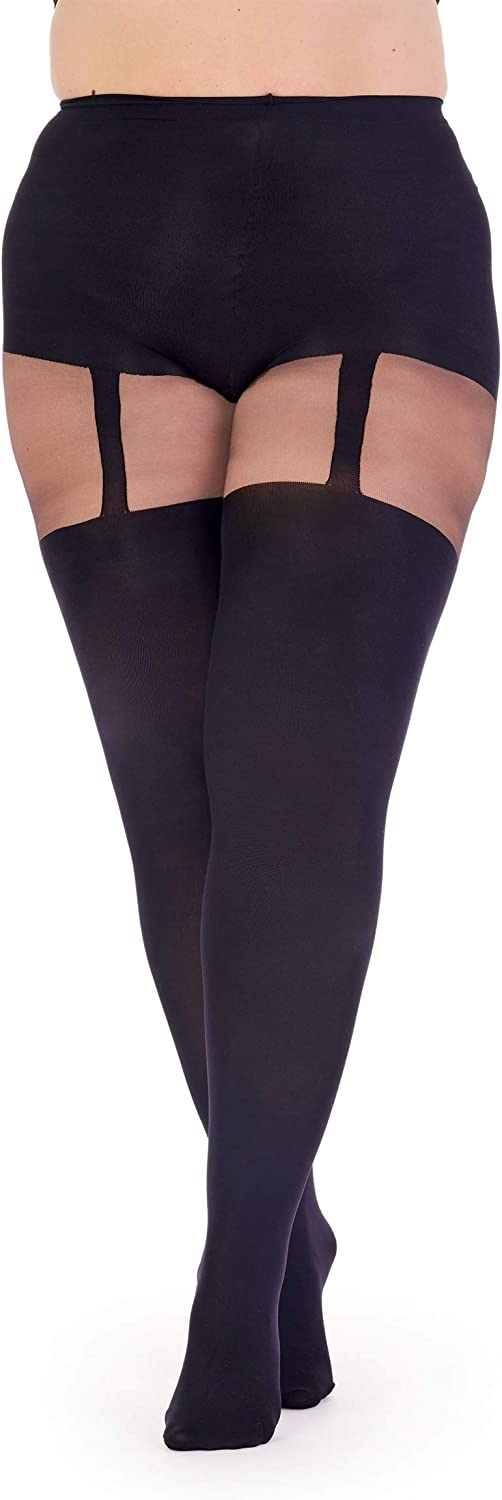 Pretty Polly Women's Curves Plus Size Suspender Tights