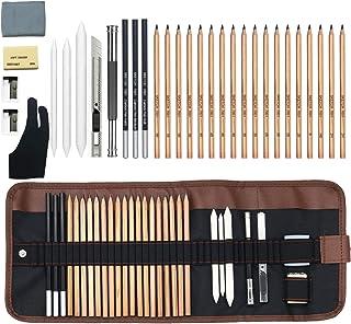 مجموعة أقلام رسم 32 قطعة من إل جي سي بو، أقلام رسم ومجموعة رسم، مجموعة فنية كاملة تتضمن أقلام رصاص جرافيكية، وأقلام رصاص ف...