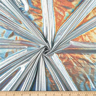 Ben Textiles Hologram Foil Spandex Knit Fabric, Silver, Fabric By The Yard