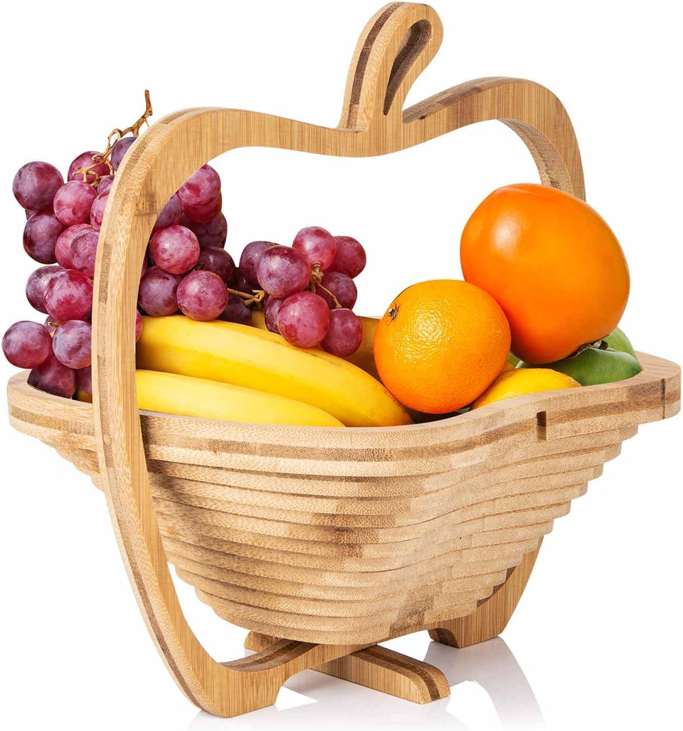 Cesta de fruta plegable de bambú Dimono®, frutero, verdulero y trébede cesta plegable y tabla de cortar, 3 en 1 en bonito diseño de manzana
