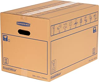 BANKERS BOX 10 SmoothMove Heavy Duty Double Wall Cardboard Moving and Storage Boxes with Handles, 67 Litre, 35 x 35 x 55 c...