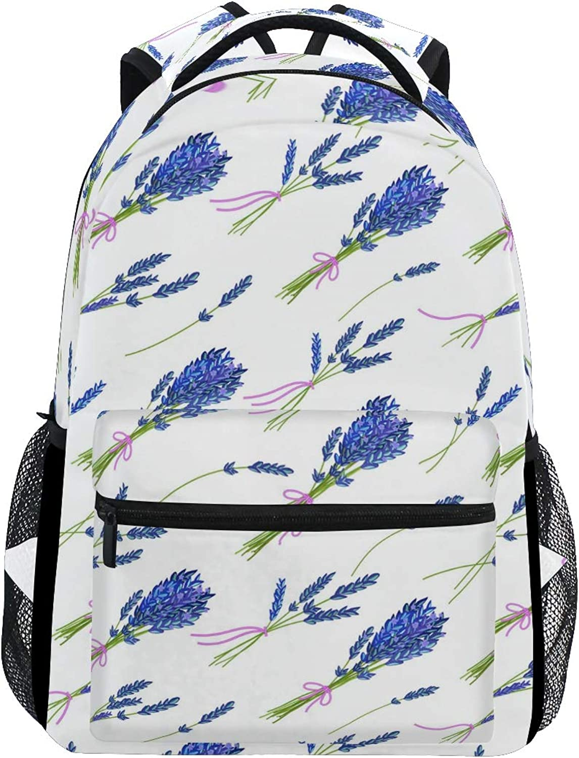 blueee Soft Lavender Nursery Large Backpack Travel Outdoor Sports Laptop Backpack for Women & Men College School Water Resistant