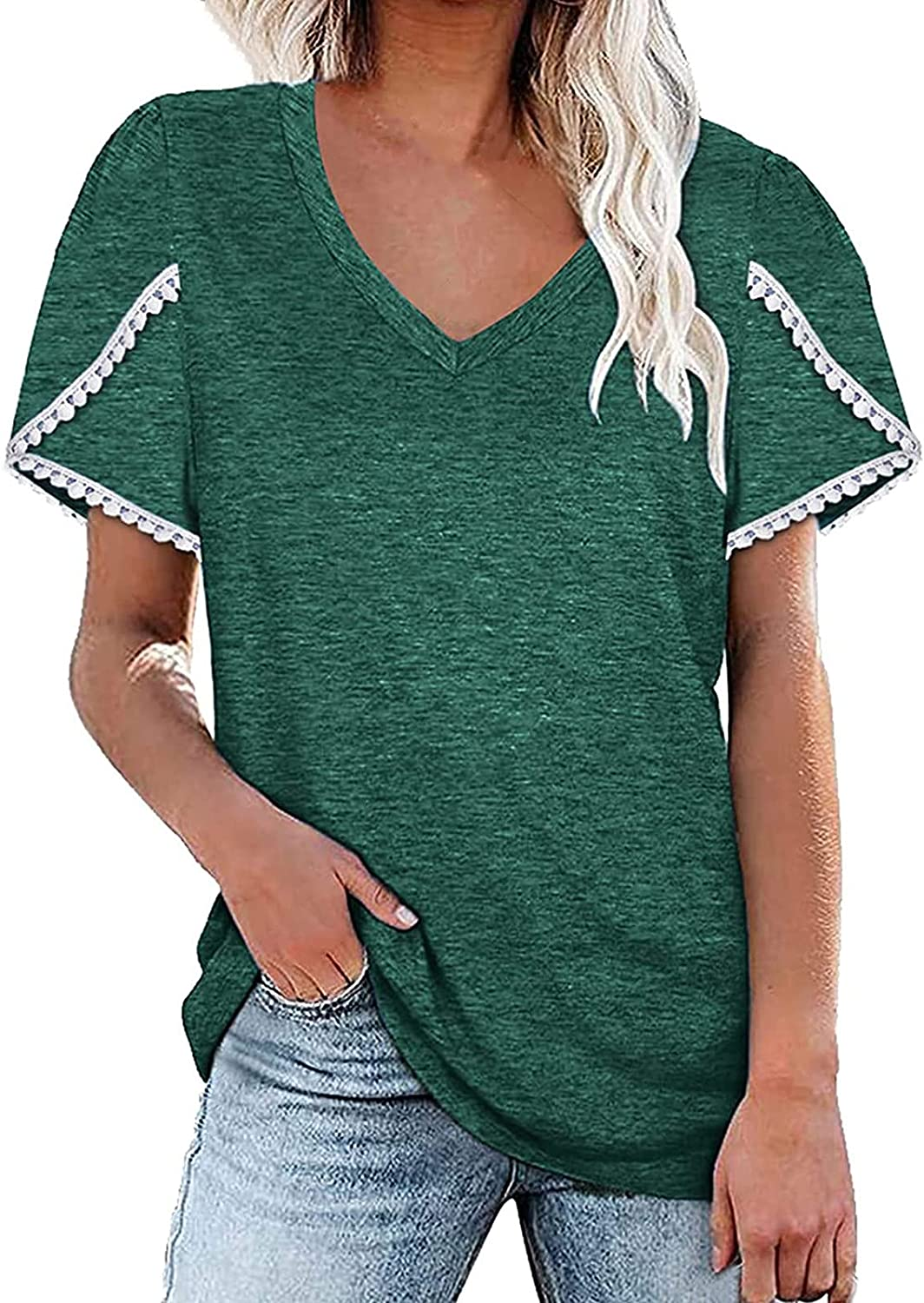 Women's Summer Short Sleeve Max Financial sales sale 70% OFF Tops T V-Neck Splicing Color Fashion
