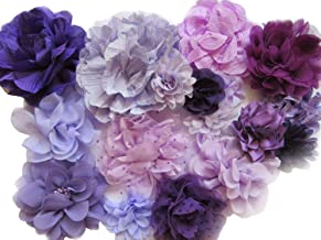 YYCRAFT 15pcs Purple/Lavender Chiffon Lace Hair Flower for Girls Headband Baby Flowers Bows,Crafts,Party Decoration(2