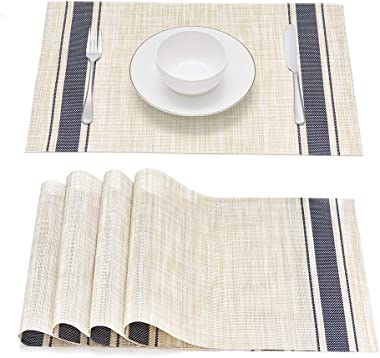 Smeala Placemats Set of 4, Heat Insulation Washable Place Mats, 17.7 x 11.8 inches Durable Non-Slip Kitchen Table Mats Placemat for Dining Table (Blue)