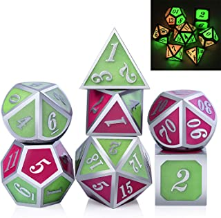 DNDND Glow in The Dark Metal DND Dice, Two Colors 7-die Zinc Alloy Glowing Metal Dice for Role Playing Game Dungeons and Dragons RPG Game and Pathfinder Free Metallic Case